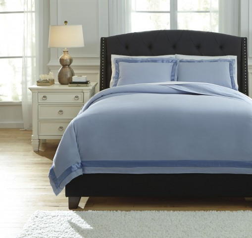 Farday Soft Blue Queen Duvet Cover Set