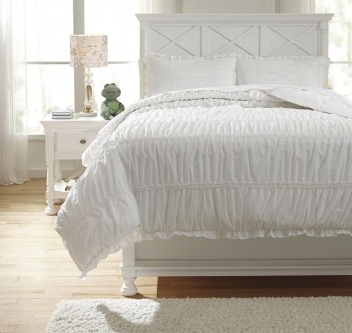 Brently White Full Duvet Cover Set