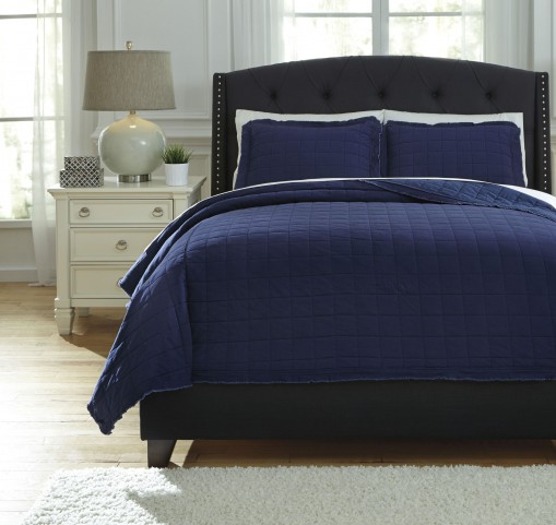 Amare Navy Queen Coverlet Set