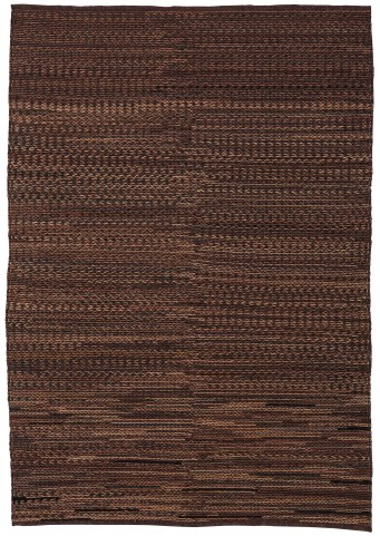 Braided Brown Leather Large Rug