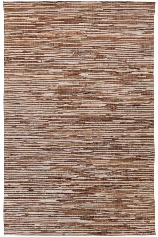 Braided Brown Striped Large Rug