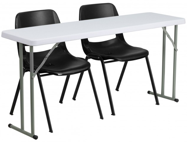 "18"" Plastic Folding Training Table with 2 Black Plastic Stack Chairs"