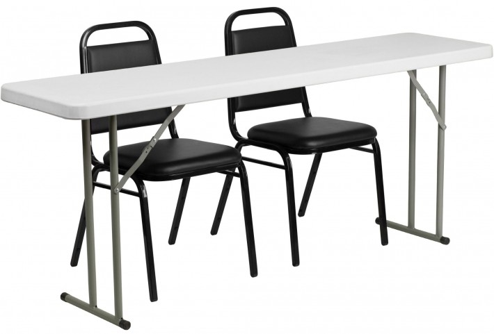 "18"" Plastic Folding Training Table with 2 Trapezoidal Back Stack Chairs"