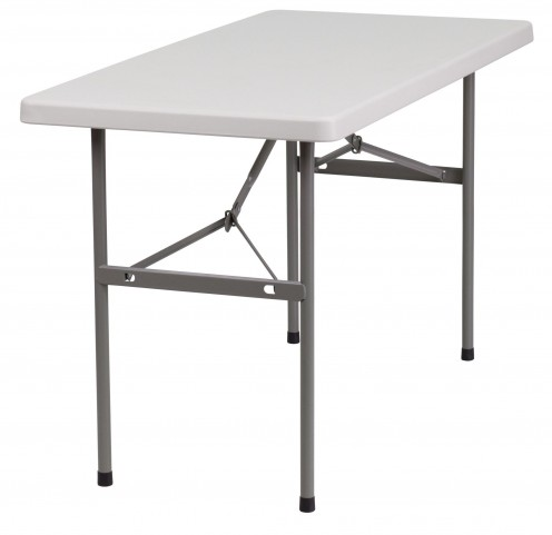 "24"" Granite White Plastic Folding Table"