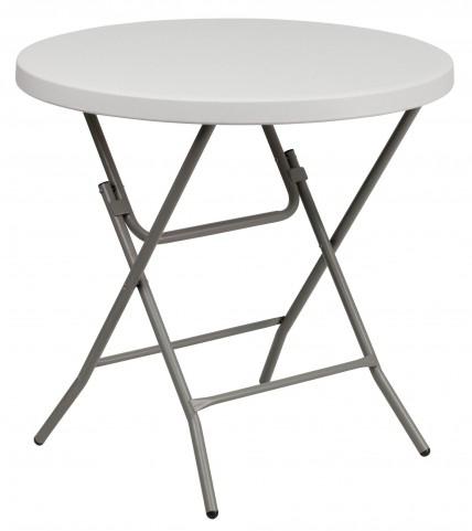 "RB-32R-GW-GG 32"" Round Granite White Plastic Folding Table"