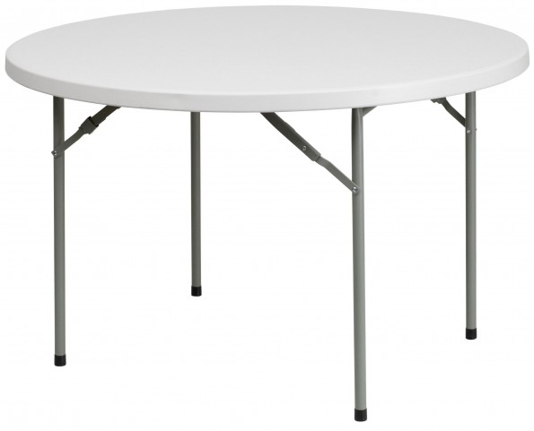 "RB-48R-GG 48"" Round Granite White Plastic Folding Table"