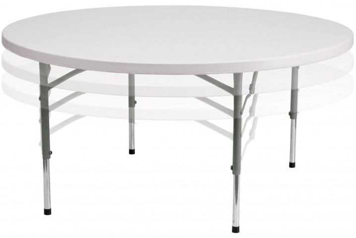"60"" Round Height Adjustable Granite White Plastic Folding Table"
