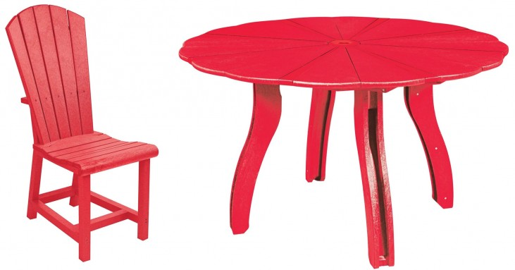"Generations Red 52"" Scalloped Round Dining Room Set"