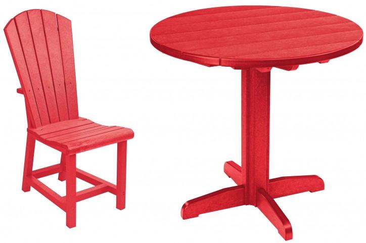 "Generations Red 37"" Round Pedestal Dining Room Set"