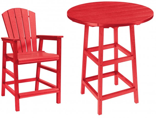 "Generations Red 32"" Round Leg Pub Set"