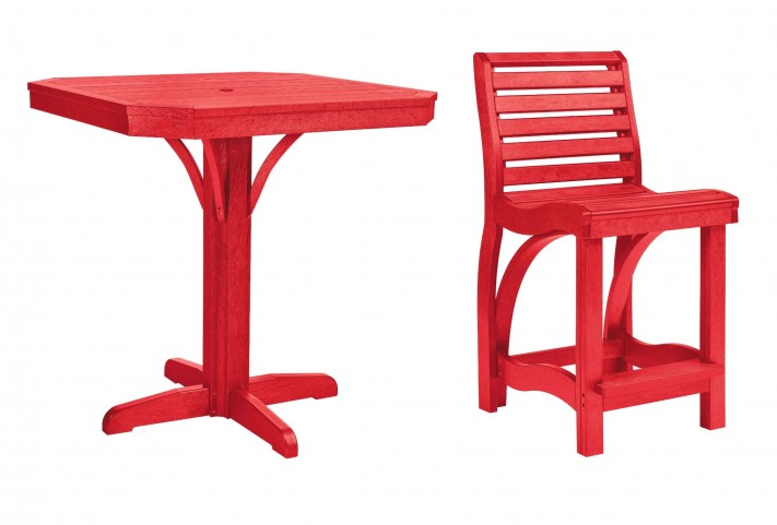 "St Tropez Red 35"" Square Counter Dining Room Set"