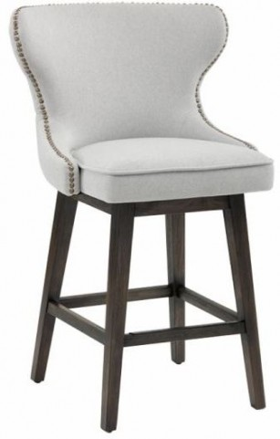 Ariana Light Grey Fabric Swivel Counter Stool