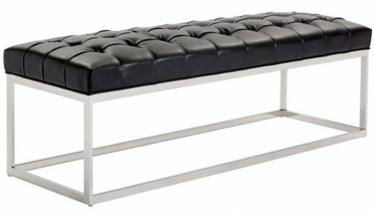 Sutton Black Leather Bench