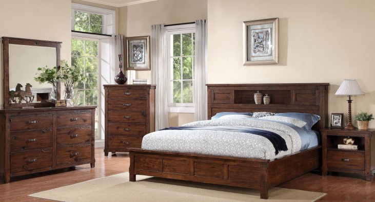 Restoration Rustic Walnut  Platform Storage Bedroom Set
