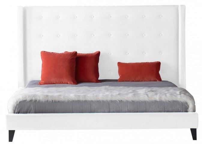 Basix Rialto White Synthetic Leather King Platform Bed