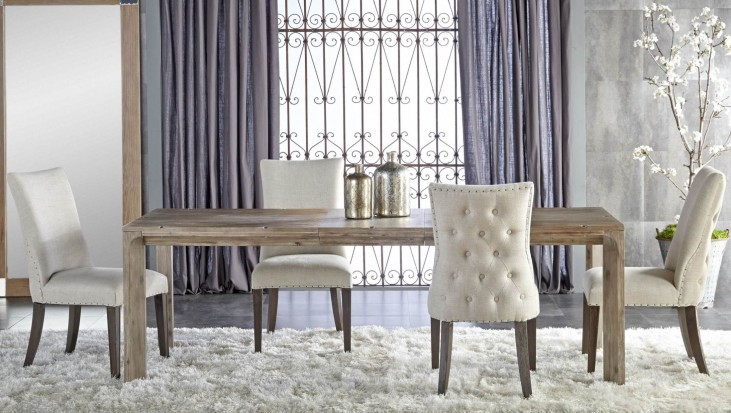 Rivet Gray Wash Rectangular Extendable Leg Dining Room Set with Lourdes Dining Chairs