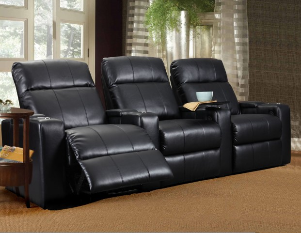Plaza Black Bonded Leather Power Reclining Straight Row 3 Seats Home Theater Seating