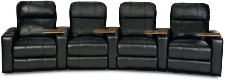 Plaza Black Bonded Leather Power Reclining Curved 4 Seats Home Theater Seating