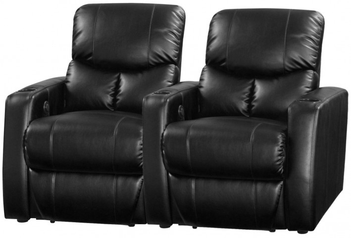 Applause Black Bonded Leather Reclining 2 Seats Home Theater Seating