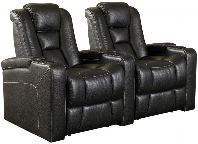 Evolution Black Leathaire Fabric Power Reclining Straight Row 2 Seats Home Theater Seating