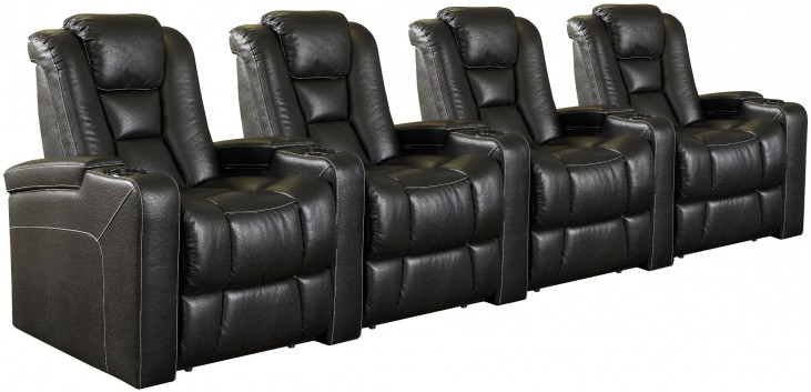Evolution Black Leathaire Fabric Power Reclining Straight Row 4 Seats Home Theater Seating