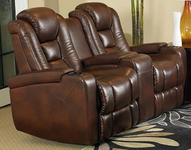 Evolution Jamestown Brown Fabric Power Reclining Console Loveseat