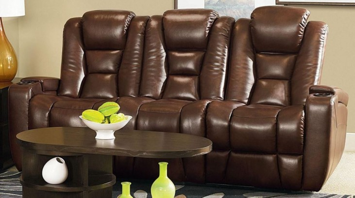 Evolution Jamestown Brown Fabric Power Reclining Sofa
