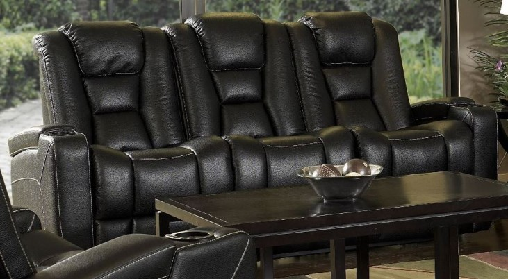 Evolution Black Leathaire Fabric Power Reclining Sofa