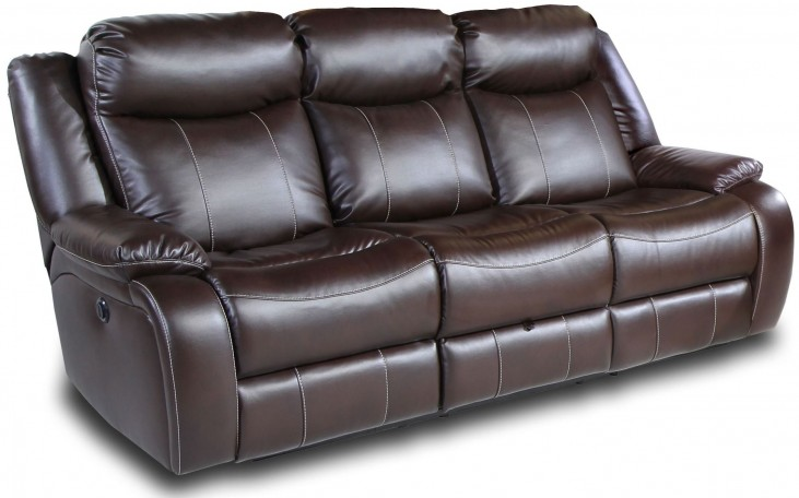 Genesis Jamestown Brown Fabric Power Reclining Sofa