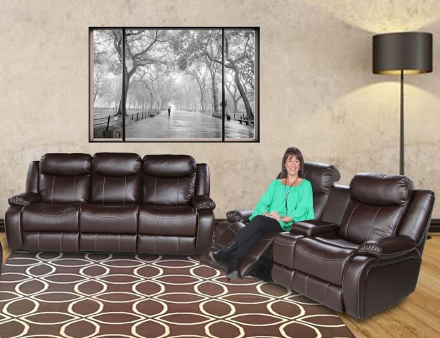 Genesis Jamestown Brown Fabric Power Reclining Living Room Set