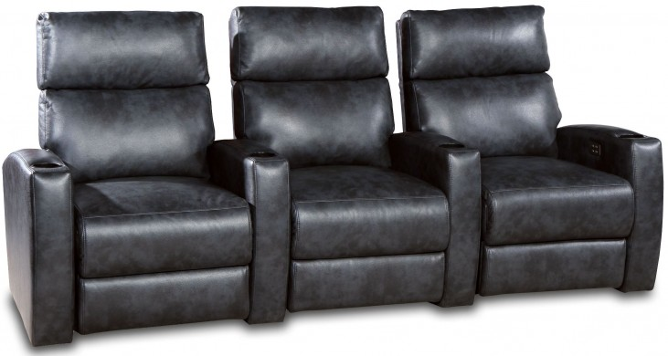 Galaxy Mottled Gray and Charcoal Leather Gel Power Reclining 3 Seats Home Theater Seating