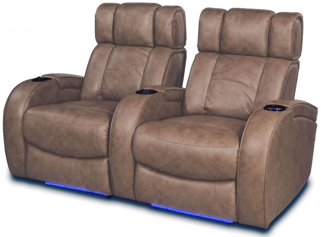 Andromeda Taupe Leather Gel Power Reclining 2 Seats Home Theater Seating