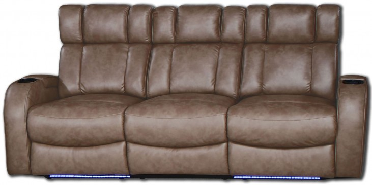 Andromeda Taupe Leather Gel Power Reclining Sofa