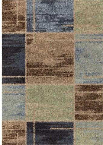 Orian Rugs Plush Squares Armada Blue Area Small Rug