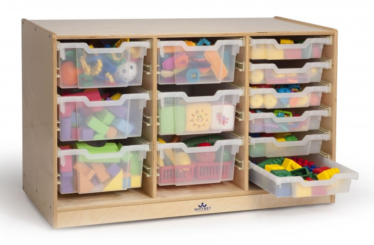Clear Tray Triple Storage Cabinet