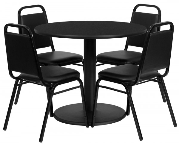 "36"" Round Black Table Set with 4 Black Trapezoidal Back Banquet Chairs"