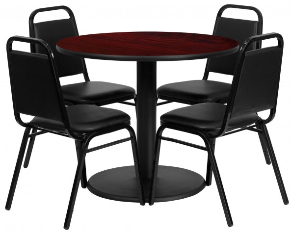 "36"" Round Mahogany Table Set with 4 Black Trapezoidal Back Banquet Chairs"
