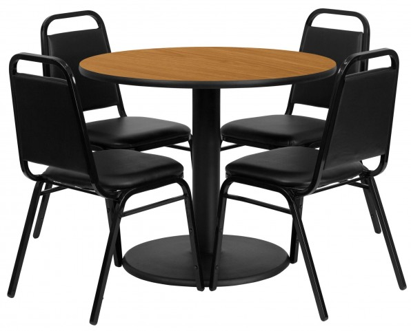 "36"" Round Natural Table Set with 4 Black Trapezoidal Back Banquet Chairs"