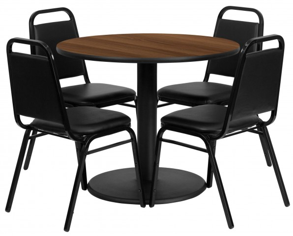 "36"" Round Walnut Table Set with 4 Black Trapezoidal Back Banquet Chairs"