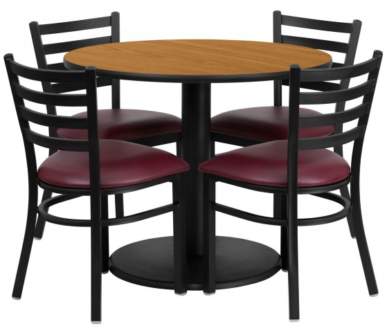 "36"" Round Natural Table Set with 4 Ladder Back Metal Burgundy Vinyl Chairs"