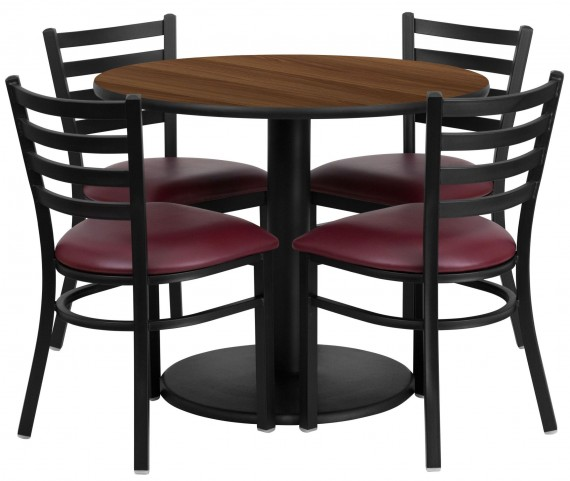 "36"" Round Walnut Table Set with 4 Ladder Back Metal Burgundy Vinyl Chairs"