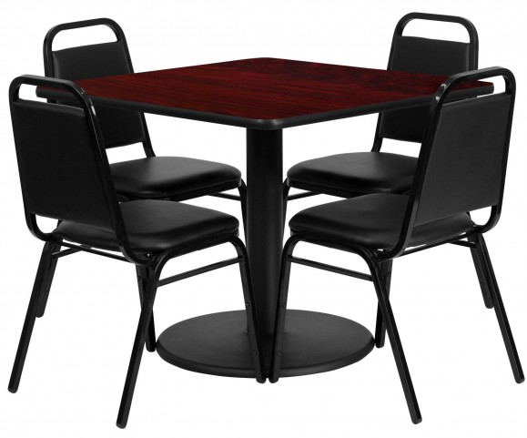 "36"" Square Mahogany Table Set with 4 Black Trapezoidal Back Banquet Chairs"