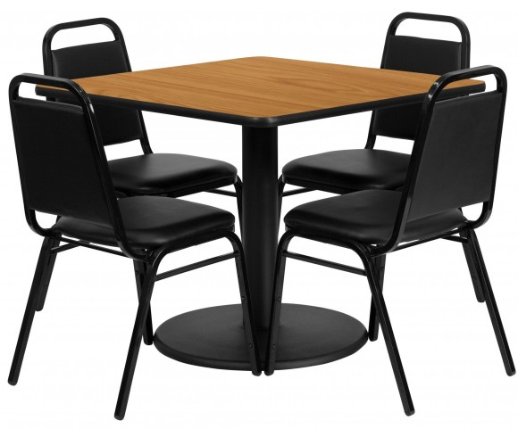 "36"" Square Natural Table Set with 4 Black Trapezoidal Back Banquet Chairs"