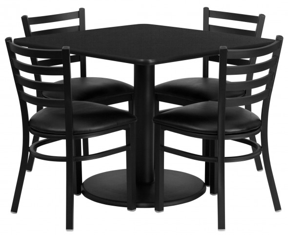 "36"" Square Black Table Set with 4 Ladder Back Metal Black Vinyl Chairs"