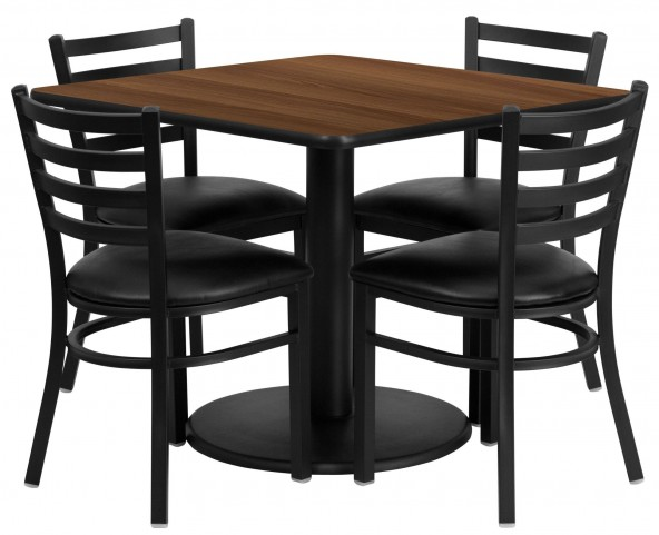 "36"" Square Walnut Table Set with 4 Ladder Back Black Vinyl Chairs"