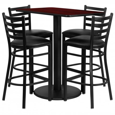 "24"" Rectangular Mahogany Table Set with 4 Ladder Back Black Vinyl Bar Stools"
