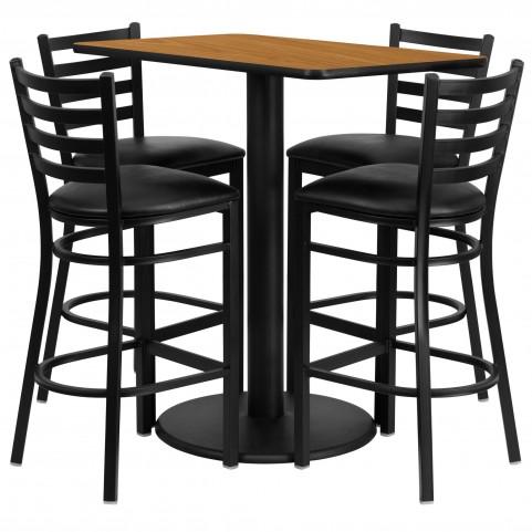 "24"" Rectangular Natural Table Set with 4 Ladder Back Black Vinyl Bar Stools"
