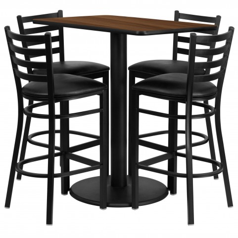 "24"" Rectangular Walnut Table Set with 4 Ladder Back Black Vinyl Bar Stools"