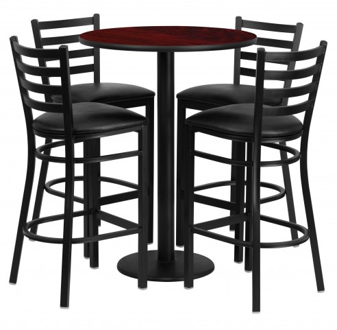 "30"" Round Mahogany Table Set with 4 Ladder Back Black Vinyl Bar Stools"