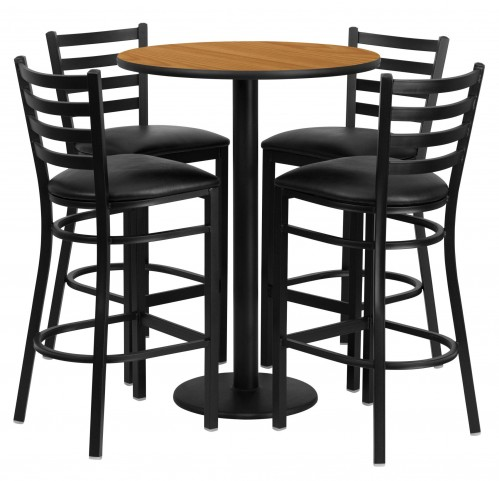 "30"" Round Natural Table Set with 4 Ladder Back Black Vinyl Bar Stools"